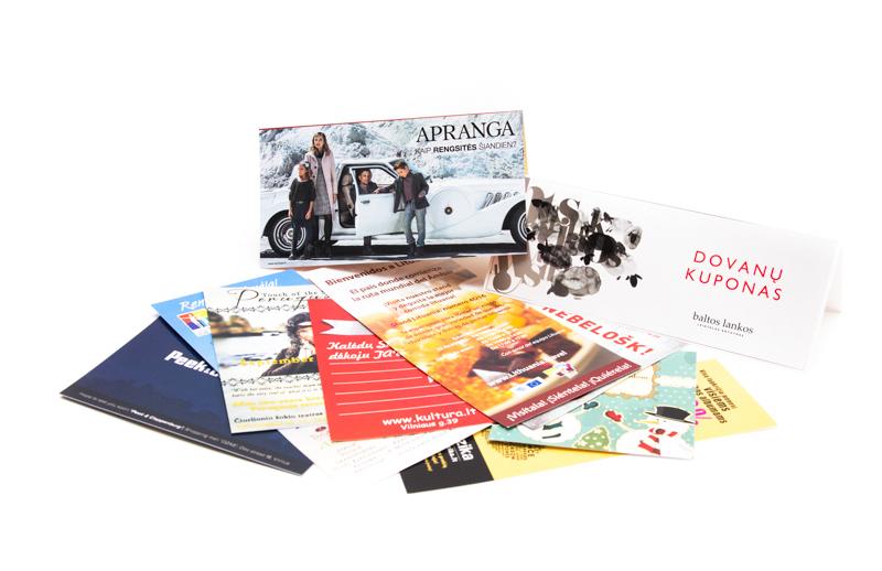 Skrajutės, kalendoriai, vizitinės kortelės
